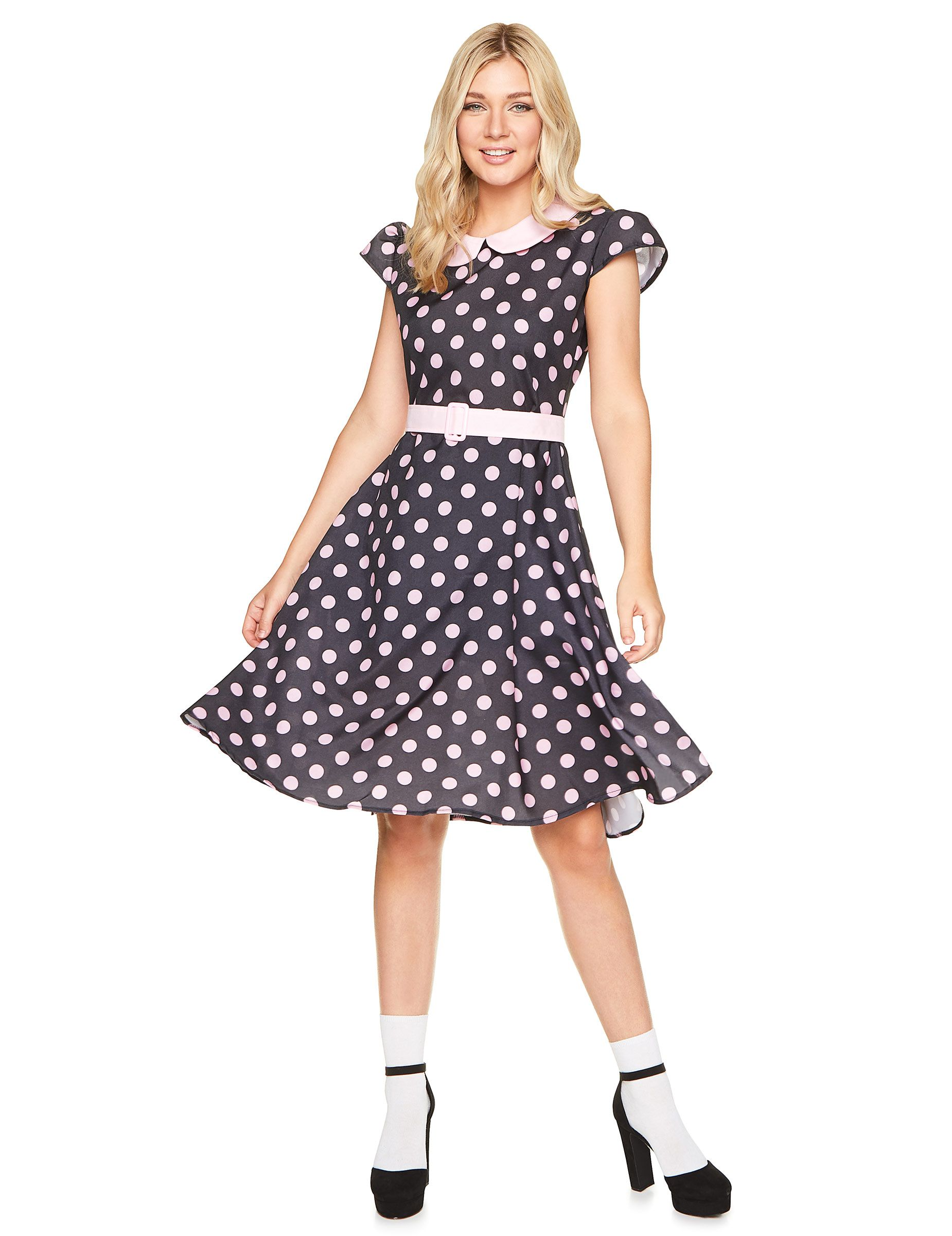Disfraz vestido años 50 puntos rosas mujer  Este disfraz años 50 para mujer  incluy vestido c39b32e6f1a56