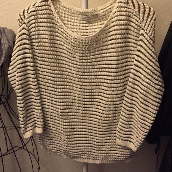 LC Lauren Conrad Sweater LC Lauren Conrad Cream & Navy Stripe Sweater. 3/4 length sleeves 90% Cotton 10% Poly Smoke Free Home BARLEY WORN LC Lauren Conrad Sweaters Crew & Scoop Necks
