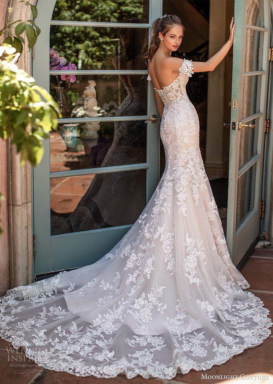 Moonlight Couture Spring 2020 Wedding Dresses Wedding Inspirasi Wedding Dress Couture Lace Mermaid Wedding Dress Short Wedding Dress [ 1263 x 900 Pixel ]