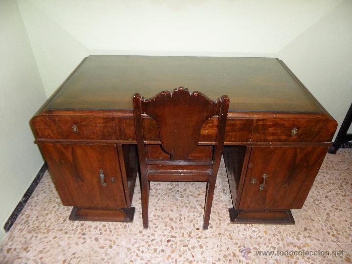 Mesa de despacho antigua con 3 cajones y 2 puertas - Muebles antiguos sevilla ...