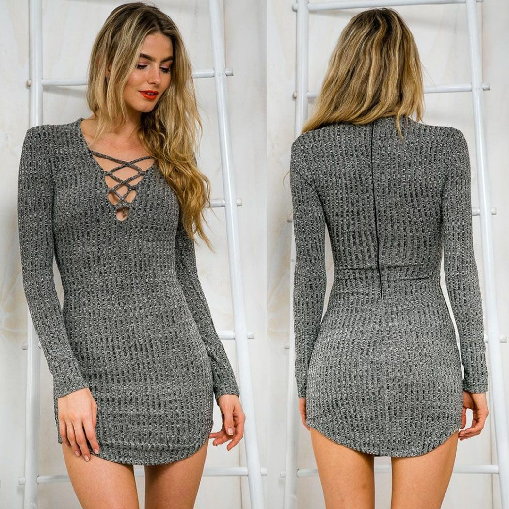 Dark gray knitting v neck lace up bodycon going out dresses casual