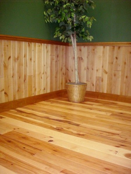 Hickory Flooring And Knotty Alder Paneling Log Cabin