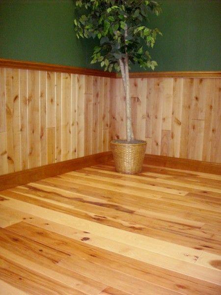 Hickory Flooring And Knotty Alder Paneling Log Cabin
