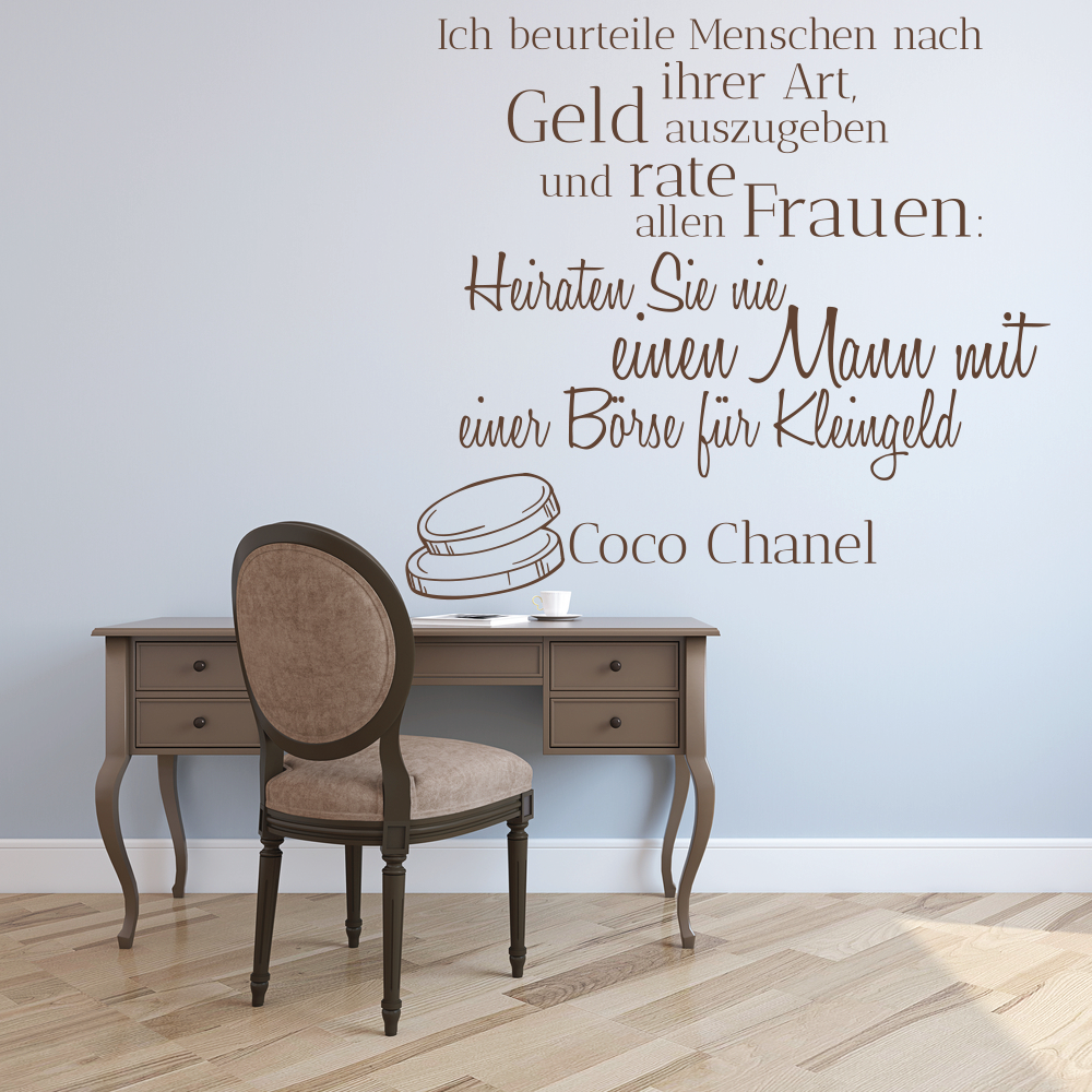 wandtattoo zitate coco chanel reuniecollegenoetsele. Black Bedroom Furniture Sets. Home Design Ideas