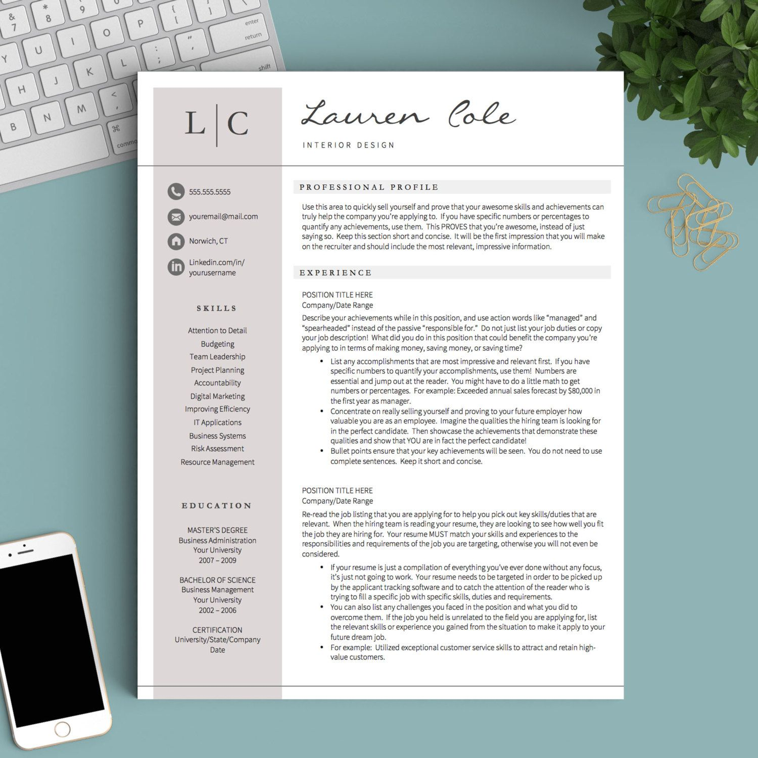 Creative Resume Template For Word And Pages The Lauren  Instant
