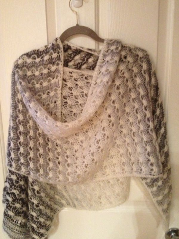 Lacy Tunisian shawl. My favorite one because it's so soft on the skin.