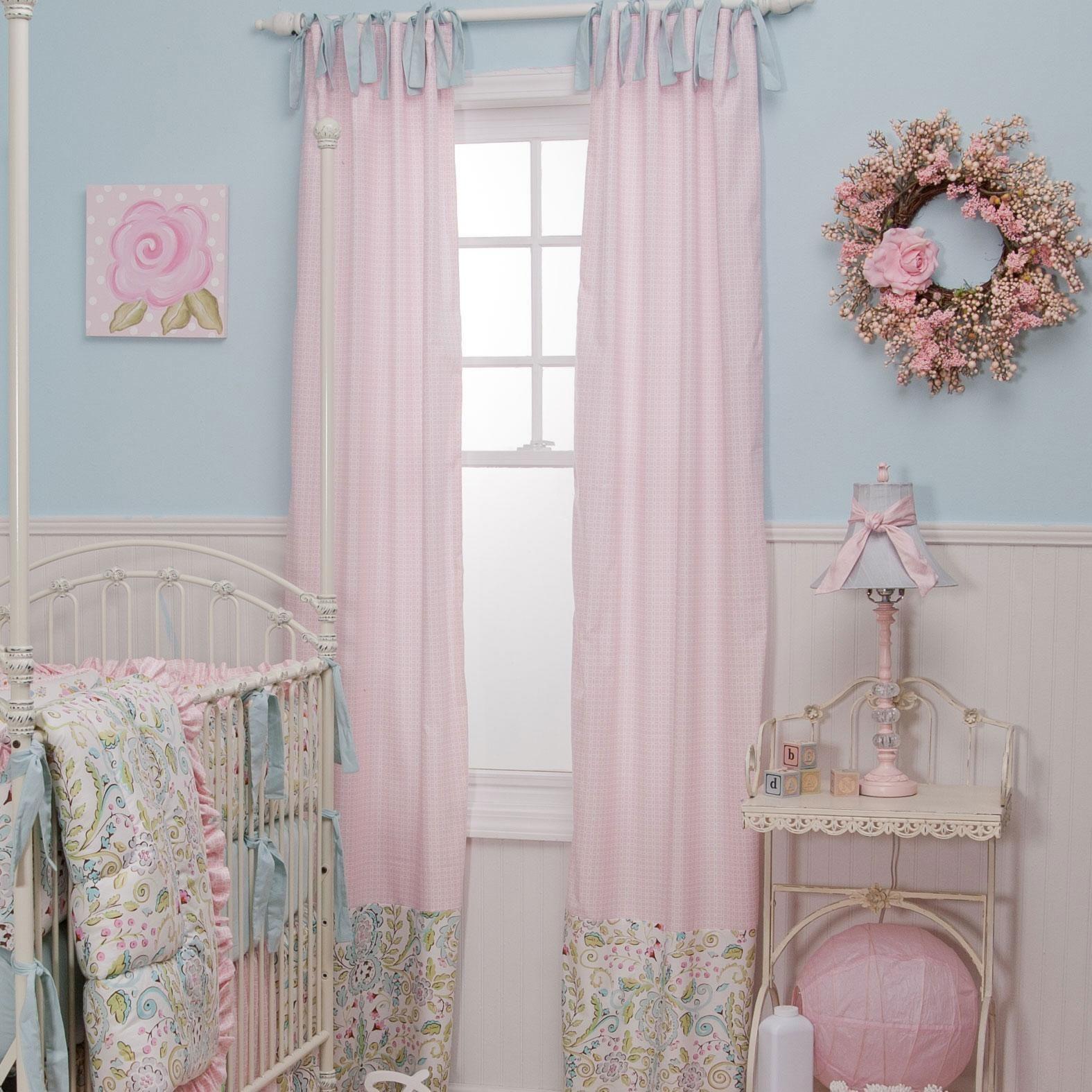 Love Birds Drape Panel Pink curtains nursery, Baby pink