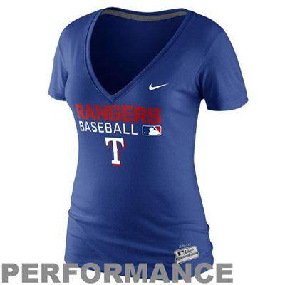 Nike Texas Rangers Dri Fit Ladies V Neck Legend Performance T Shirt Royal Blue Texas Rangers Apparel Texas Rangers Clothes Gift