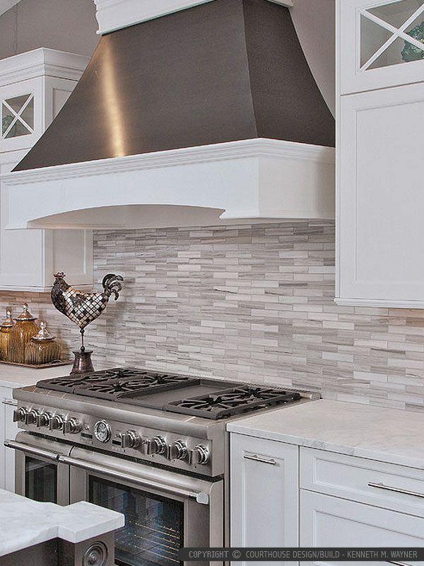 Modern White Gray Subway Marble Backsplash Tile Trendy Kitchen