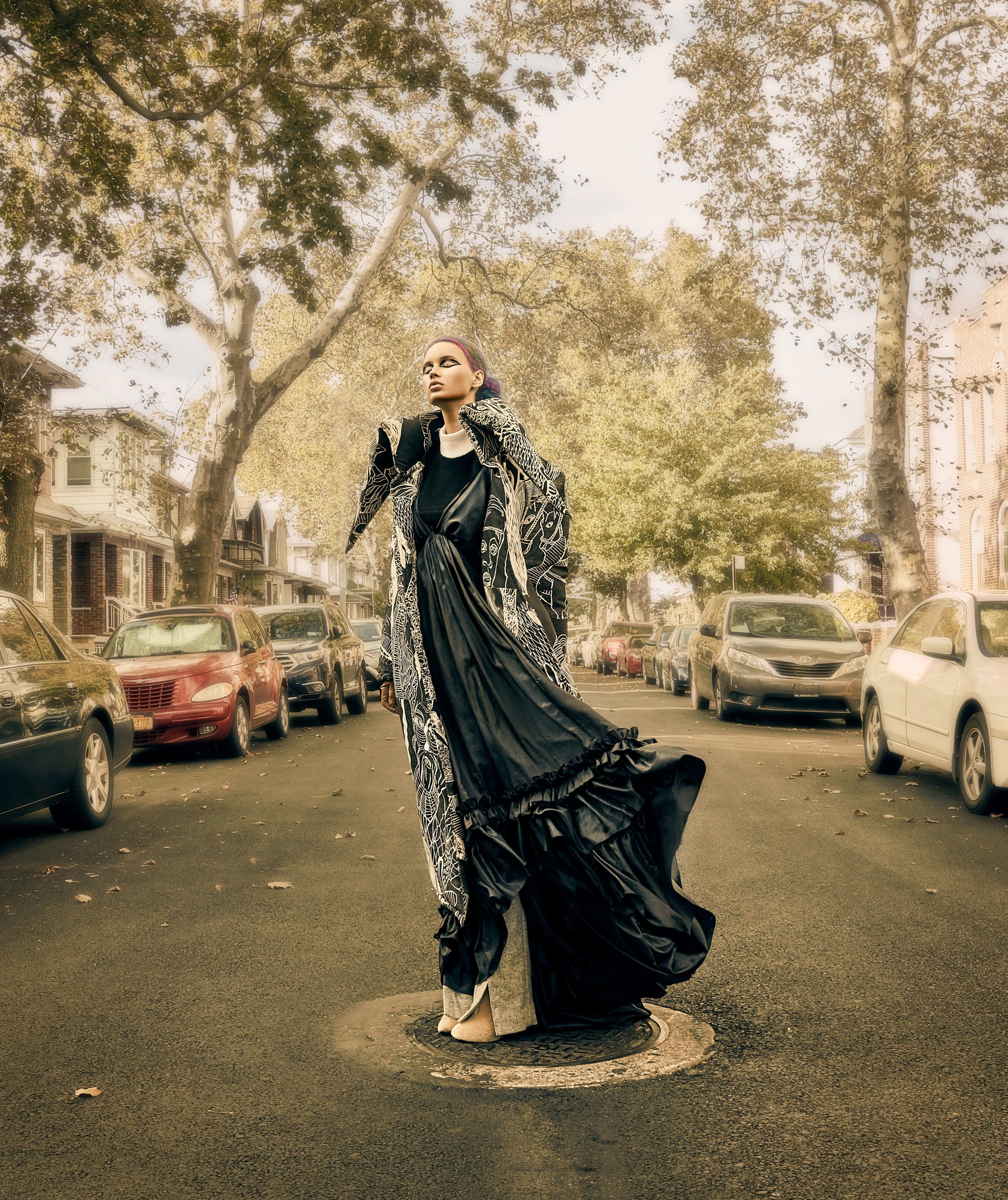 e064987fd Bullett Magazine fashion editorial featuring Kelsey Randall midnight navy  parachute taffeta bustle gown Photography: Eric