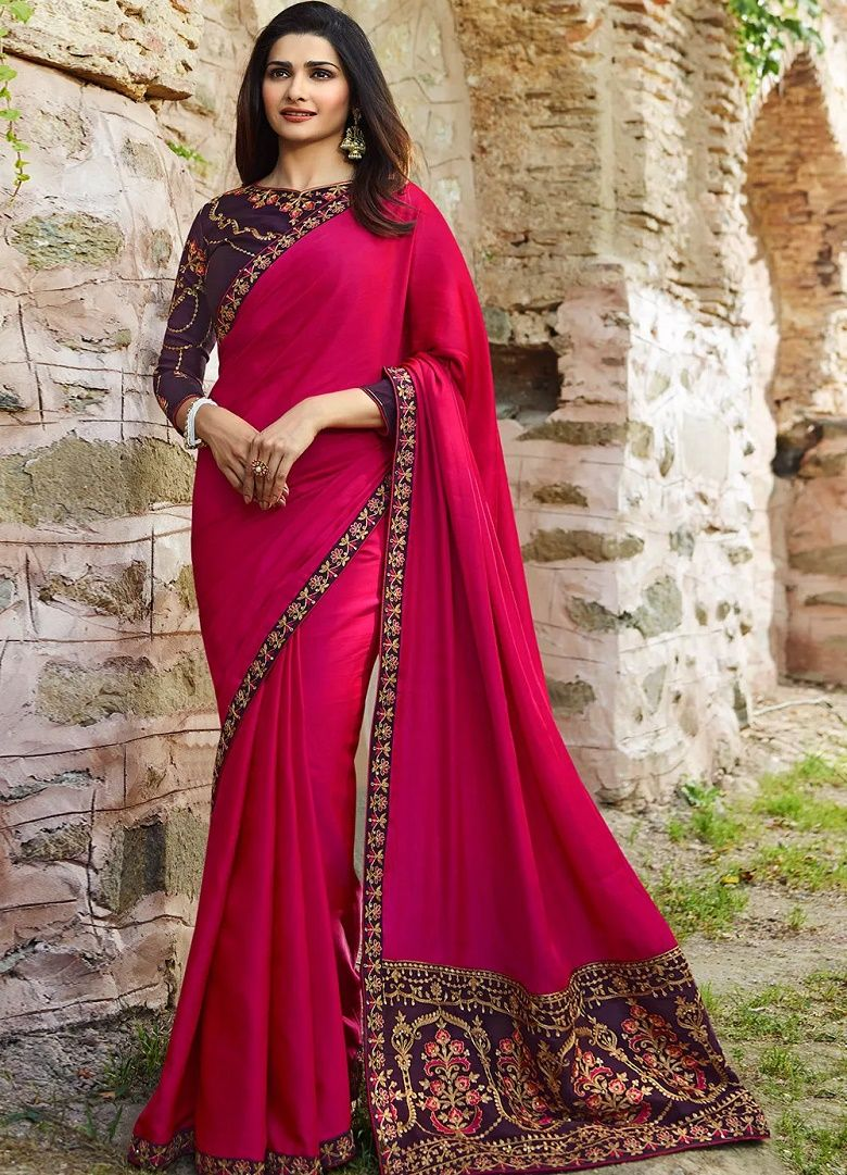 26411745264c35 Sana Silk Saree in Pink Color. Enhanced with Embroidery Work And Lace  Border. Available with a Un-Stitched Banglori Silk Blouse in Purple Color