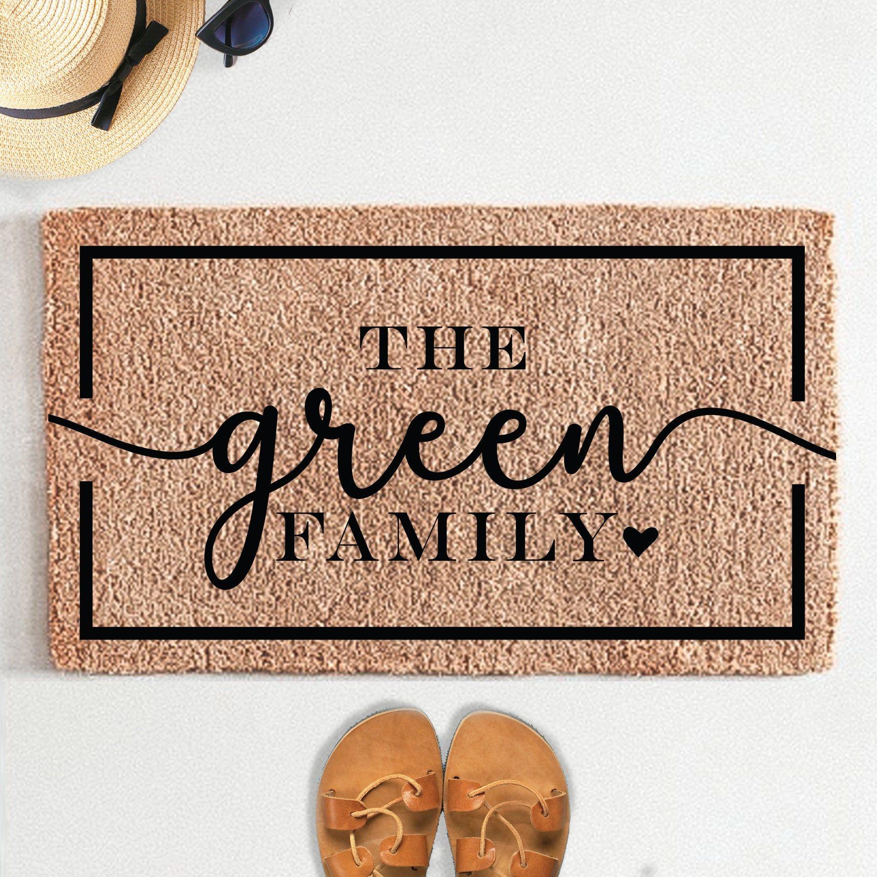 Personalized Family Name Doormat Rug Custom Doormat Etsy In 2020 Custom Doormat Door Mat Personalized Door Mats
