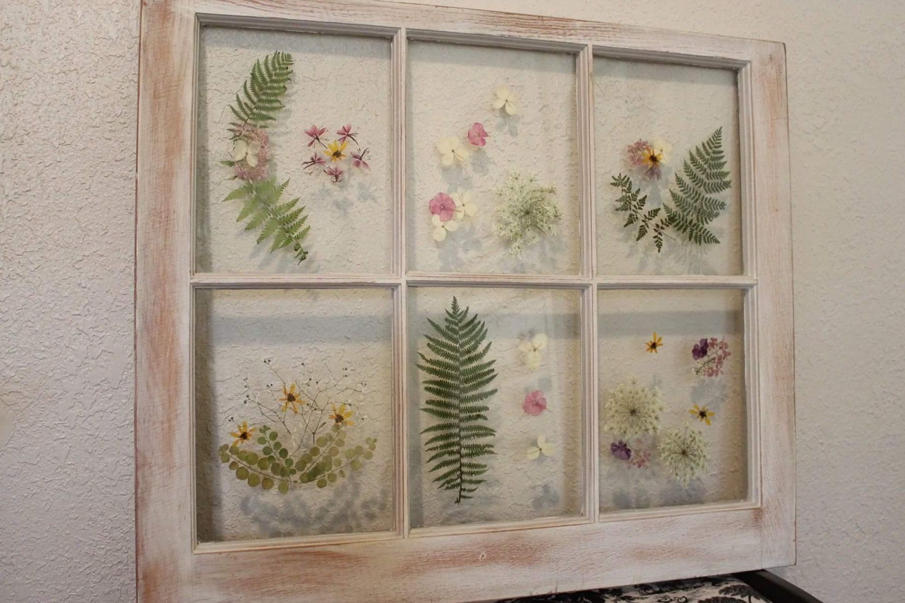 Ideas for old window frames  pressed flowers adhered to the glass of an old window frame