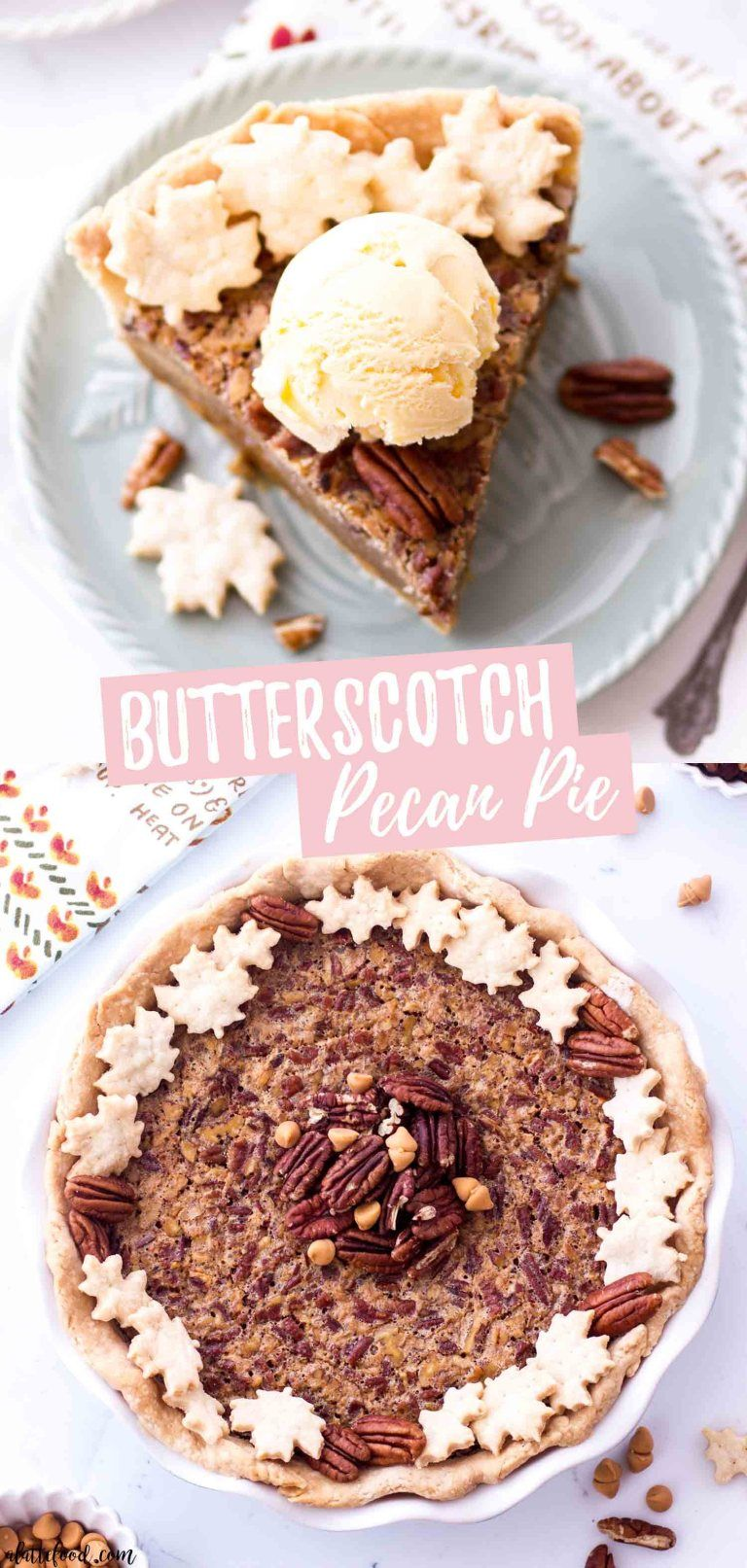 This easy Butterscotch Pecan Pie recipe is a cross between a southern pecan pie (without corn syrup) and an old fashioned butterscotch pie. This homemade butterscotch pecan pie is made in an all butter pie crust and makes the best Thanksgiving pie recipe! #butterscotch #pecan #pie #dessert #recipe #thanksgiving #pecanpierecipe