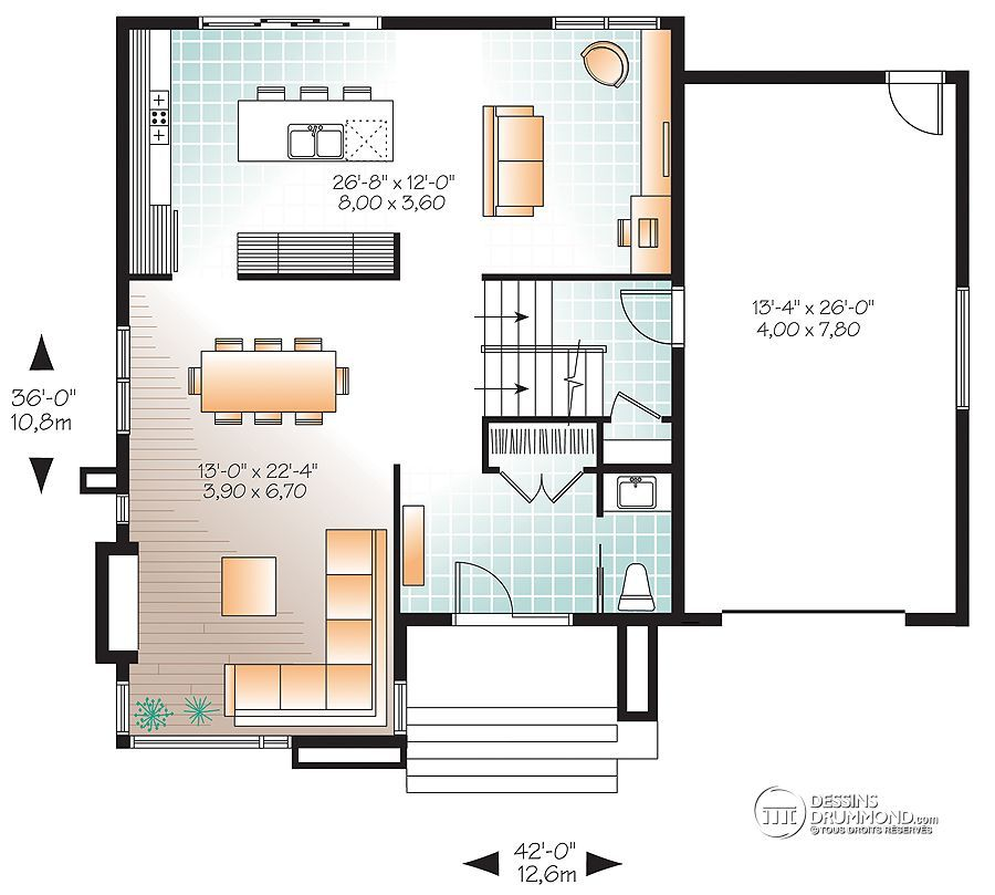 Détail du plan de Maison unifamiliale W3713-V1 plan de maison