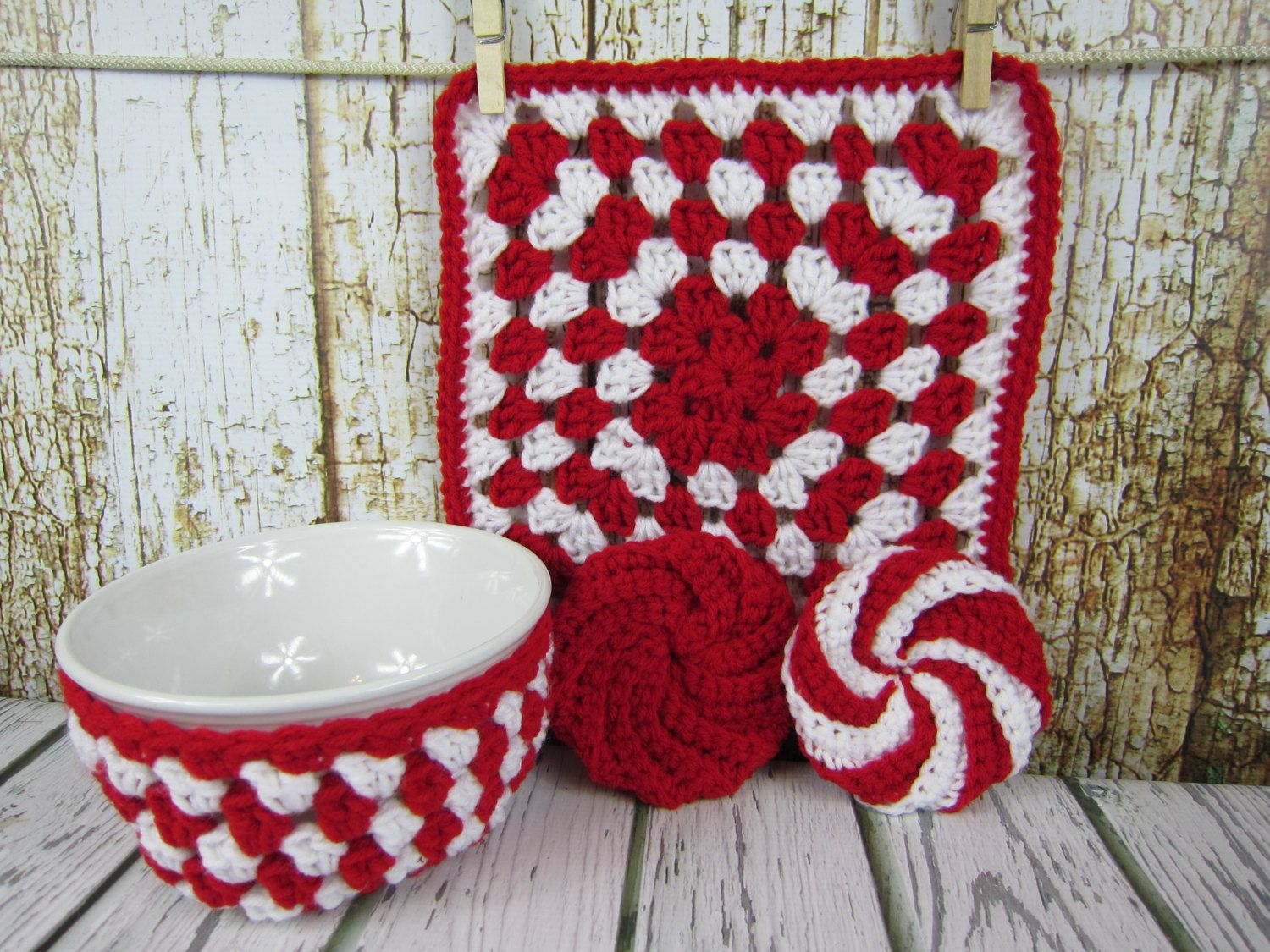 Bowl Holder, Hot Pad, Spiral Scrubbie, Red and White hot pad ...