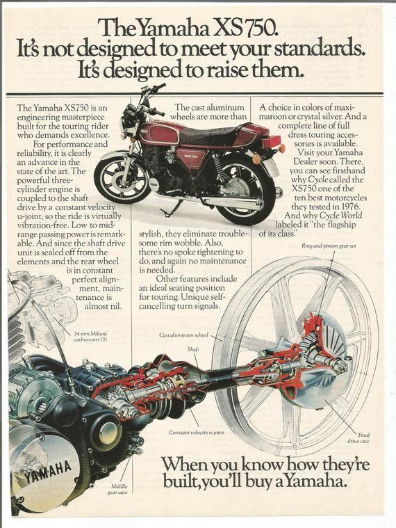 1977 Advertisement Yamaha Xs750 Motorcycle Drawing Diagram