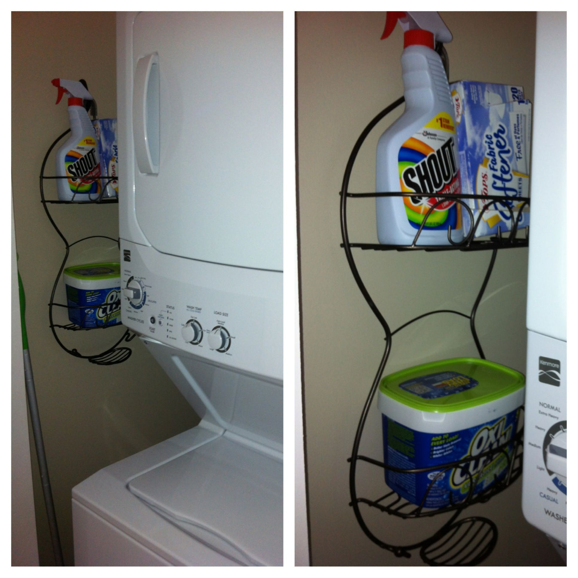 Have a small apartment laundry closet with no storage? Use a shower ...