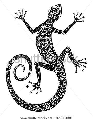 Vector dibujado a mano lagarto blanco y negro o salamandra con ...