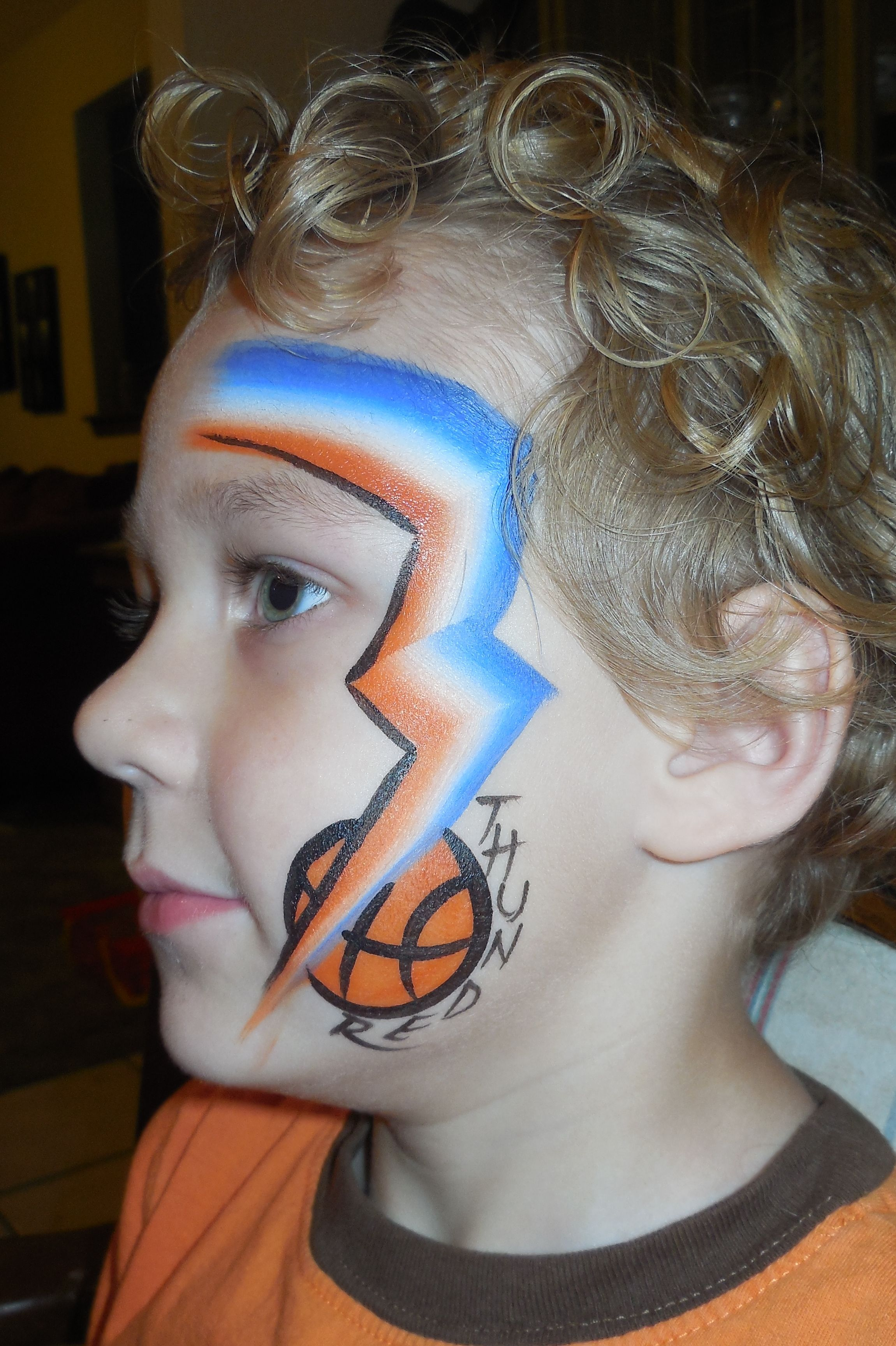 Thunder Basketball face paint Fancy Faces OKC School