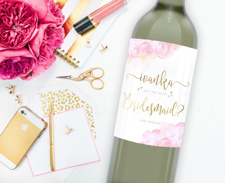 Bridesmaid Wine Label Printable Label Pink Flower Buds Elegant