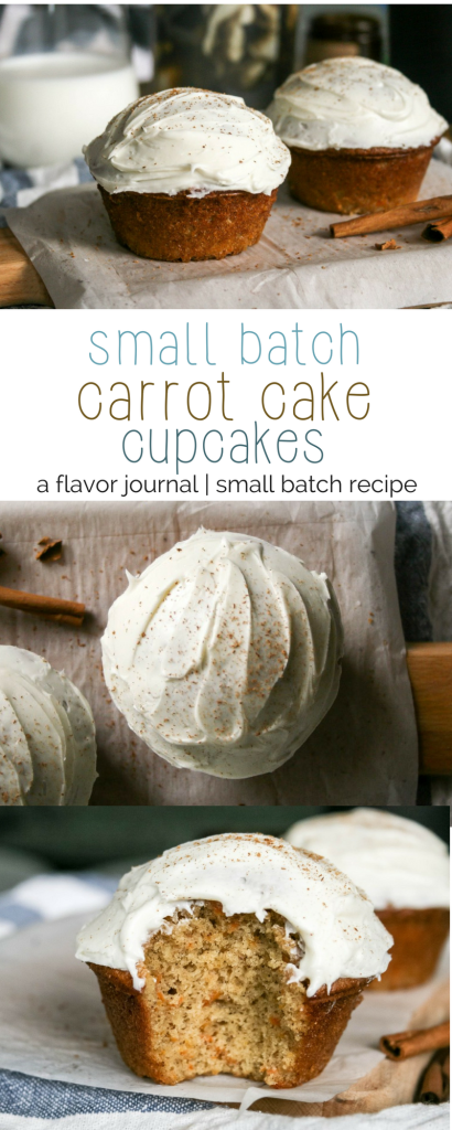 carrot cake cupcakes are condensed to a small batch recipe, making four total cupcakes. two for now, and two for later. :)   small batch carrot cake cupcakes. http://aflavorjournal.com/small-batch-carrot-cake-cupcakes/