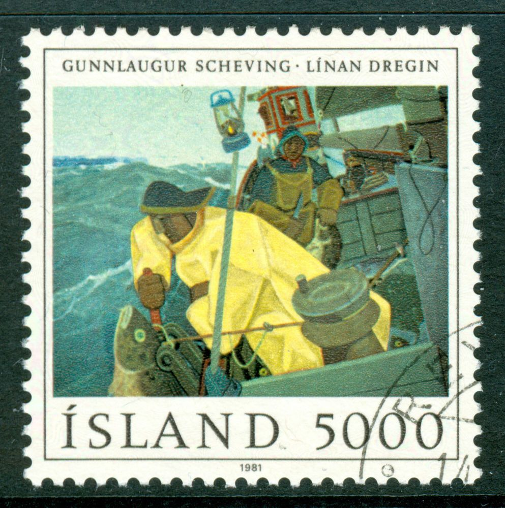 ICELAND 1981 stamp Painting Hauling the Line fine used (CTO) Art Fish Fishing