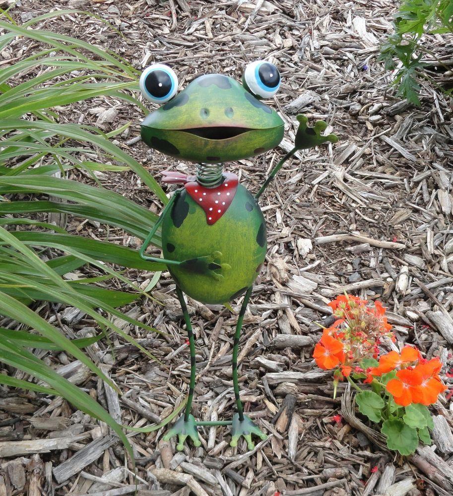 Frog Garden Stake Metal Art 3D Decor Statue Yard Outdoor 400 x 300
