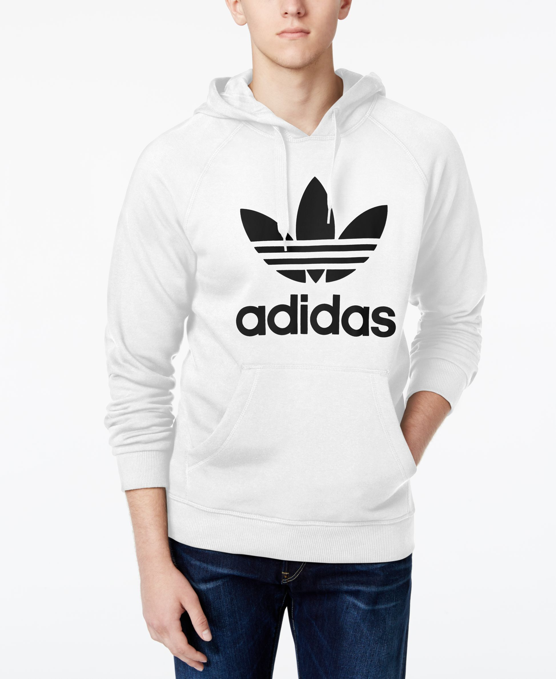 Roll with an Old School look with this simple hoodie from adidas Originals,  featuring the
