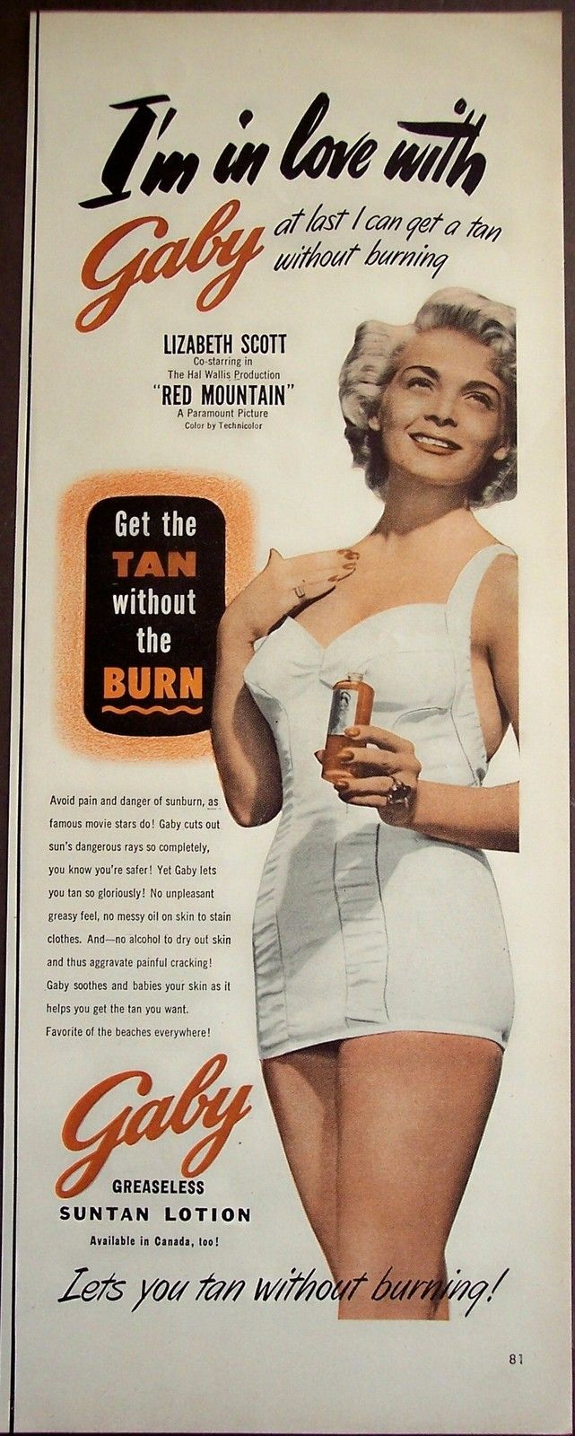 original 1951 vintage beauty Ad Gaby Suntan Lotion actress Lizabeth Scott