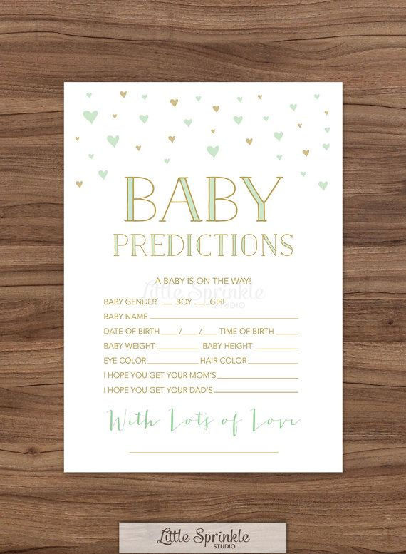 Baby Prediction Card Mint Gold Hearts Gender Neutral Baby Shower
