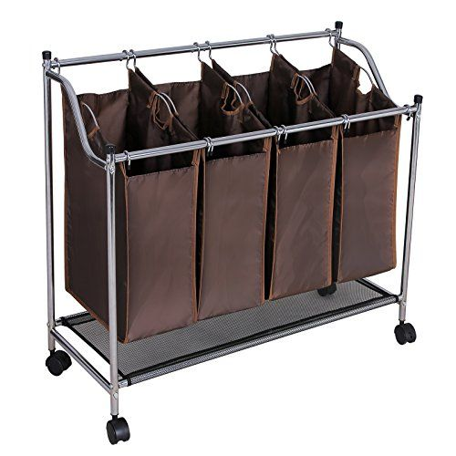 Songmics Chrome Rolling Laundry Sorter Cart 4 Bag Heavy Duty Laundry Hamper With Wheels Dark Brown Urls04z Songmics Laundry Organizer Http Www Amazon Com Dp B