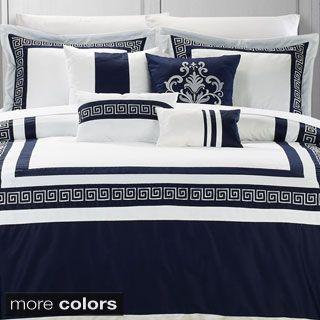 Venice 7 Piece Cotton Comforter Set Bedroom Ideas Comforter Sets Bed Elegant Home Decor White comforter with navy trim
