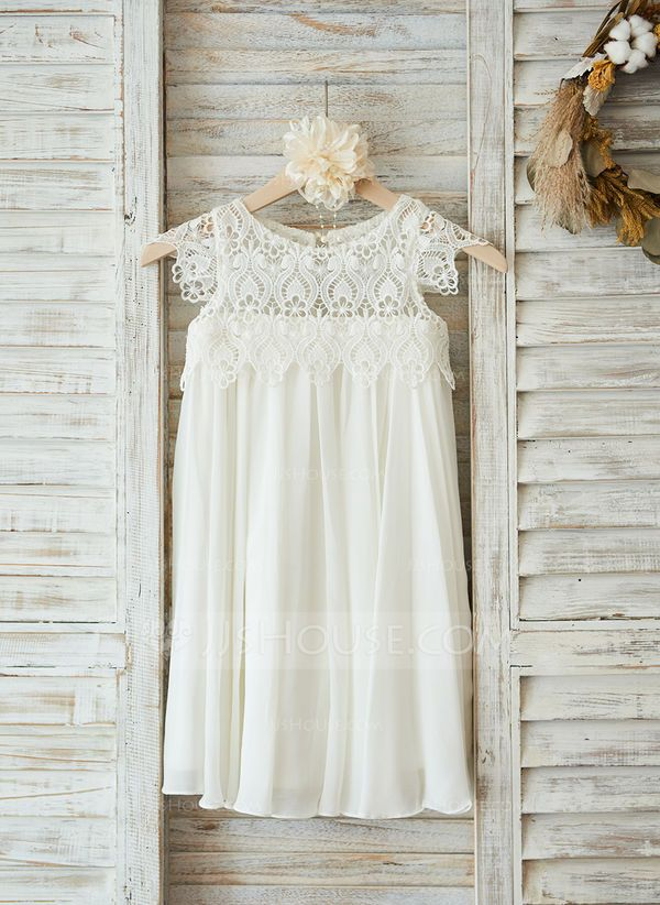 This empire silhouette dress will look darling on any little girl. Your precious sweetie will love the ruffles and soft lace top of this dress. |  Empire Knee-length Flower Girl Dress