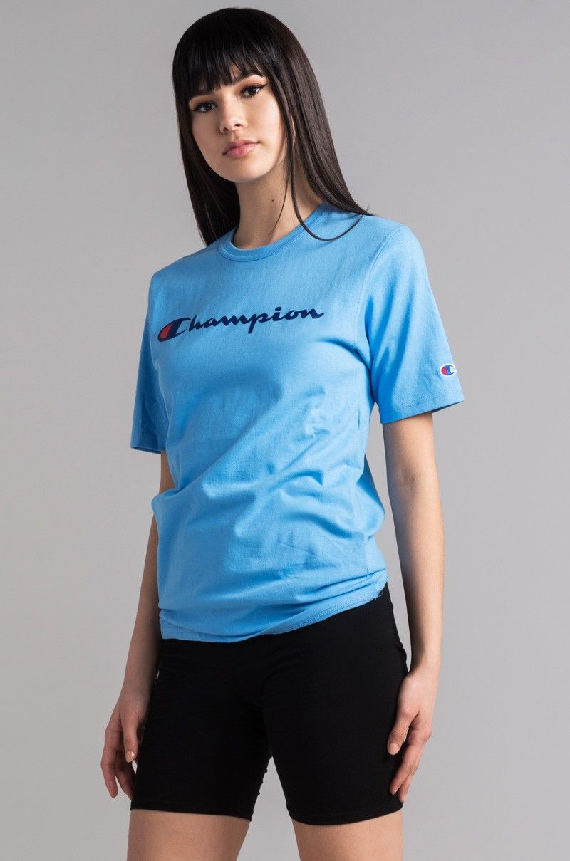 982156e59fba Side View Champion Womens Reverse Weave Script Tee in Swiss Blue ...