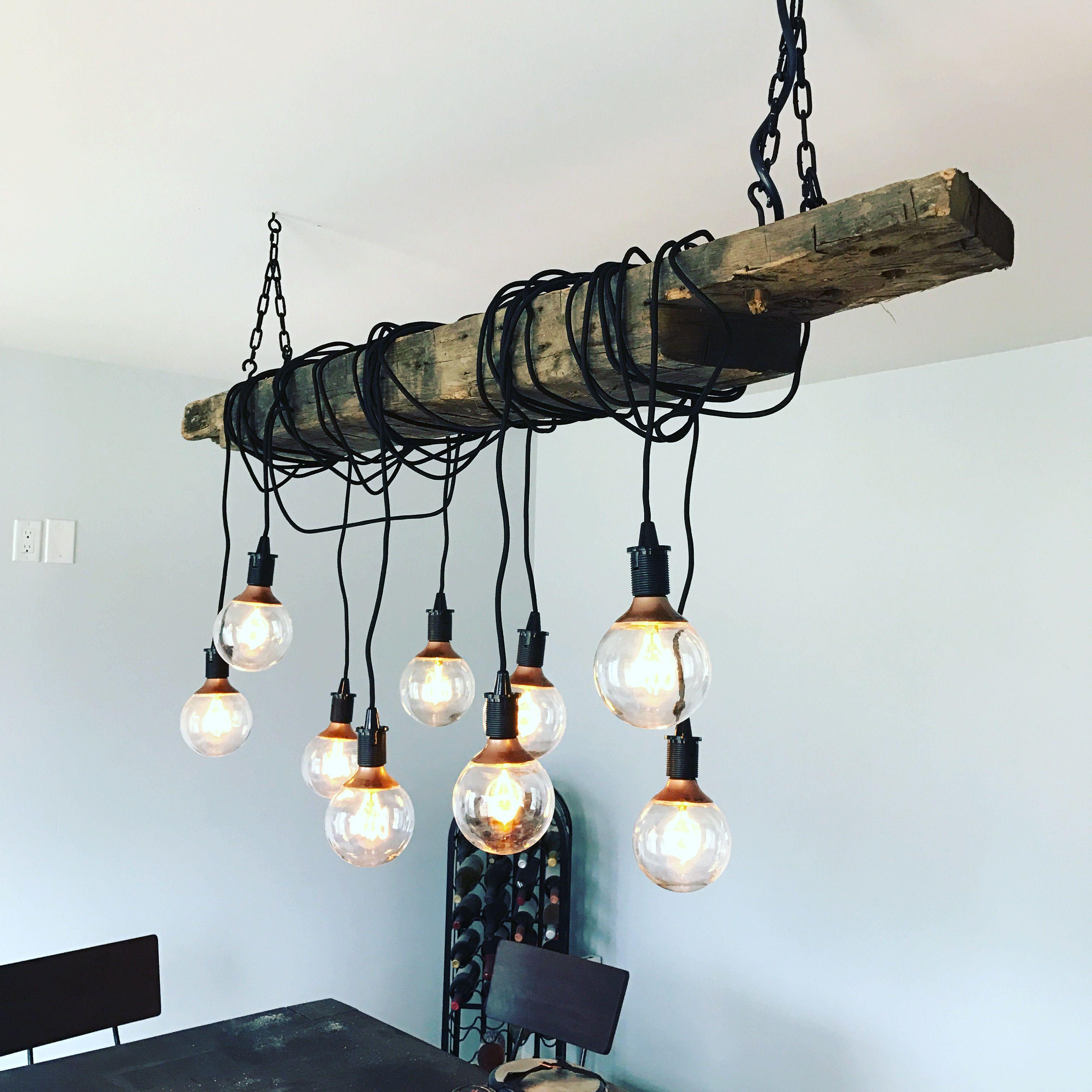 Barn wood beam chandelier Great diy weekend project