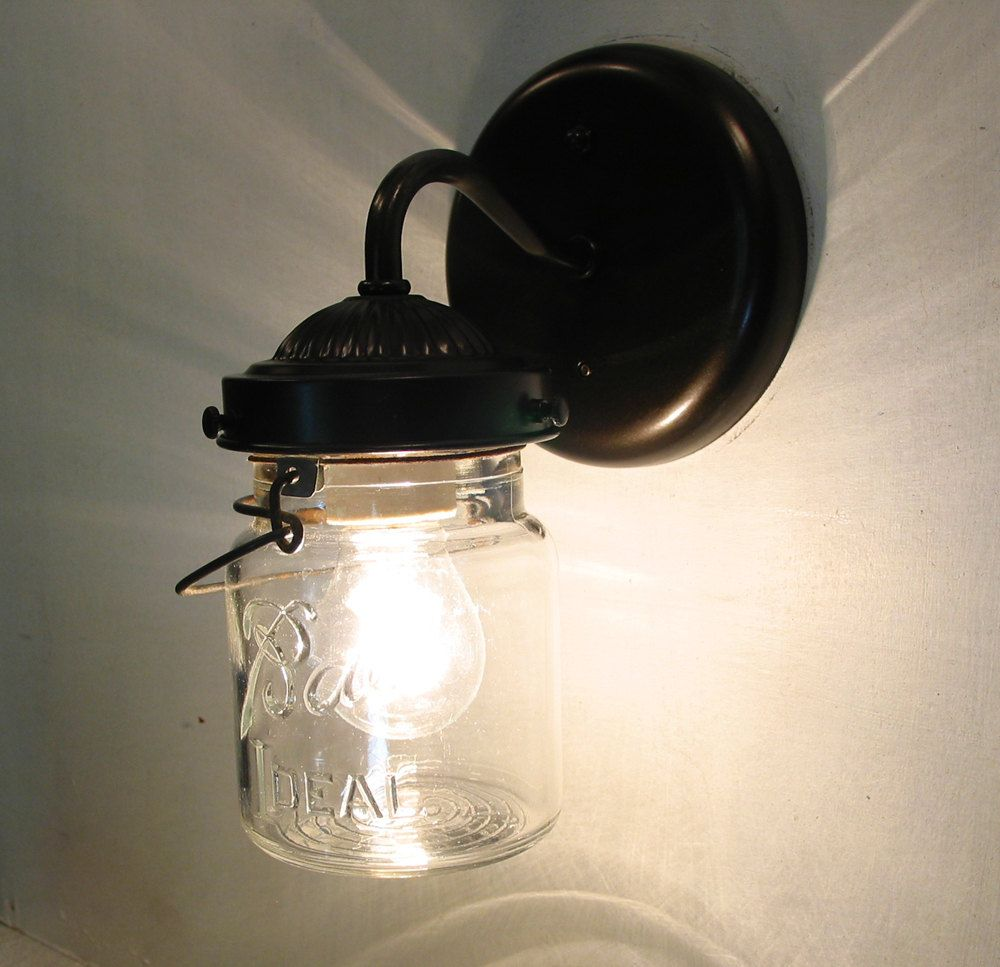 Vintage clear canning jar sconce created new by lampgoods on etsy mason jar sconce lighting fixture with vintage pint flush mount wall light farmhouse kitchen ceiling chandelier track fan rustic lampgoods arubaitofo Gallery