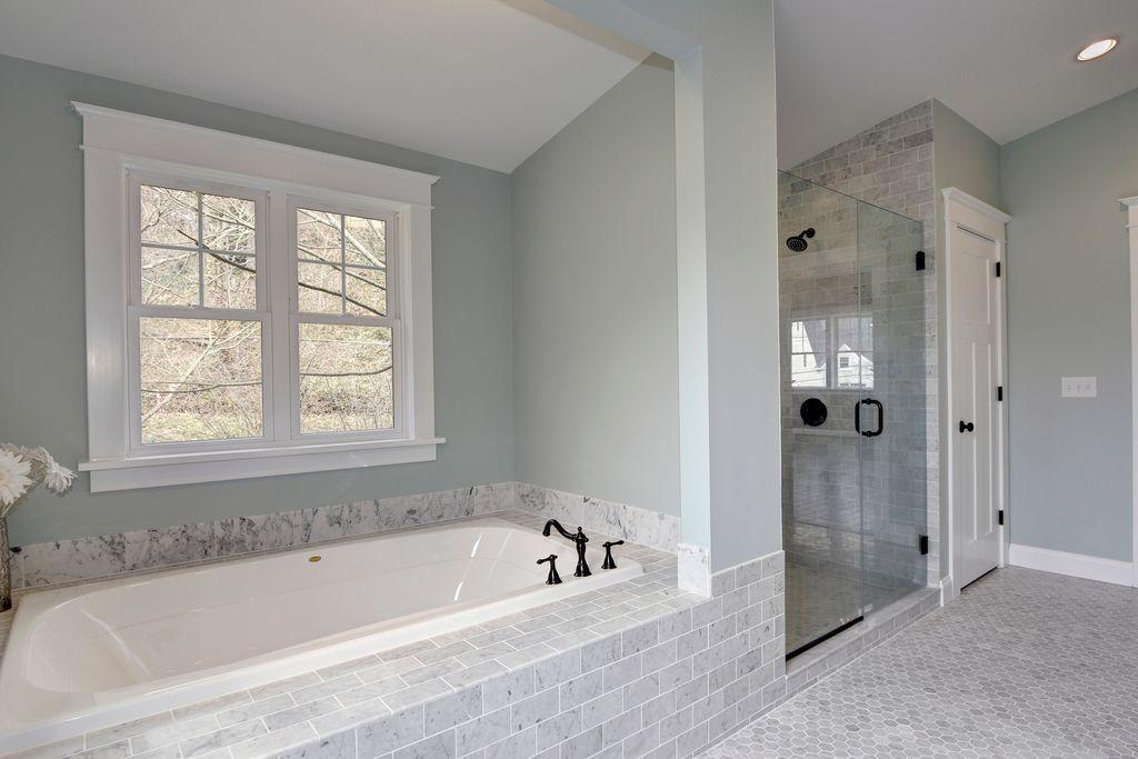 Contemporary Full Bathroom with Drop-In Bathtub, Moen Waterhill ...