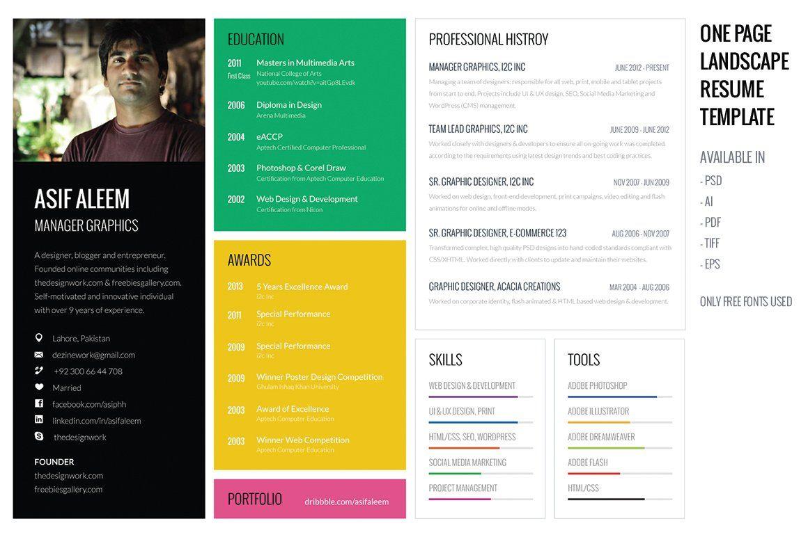 Landscape Resume / CV Template in 2020 Resume template