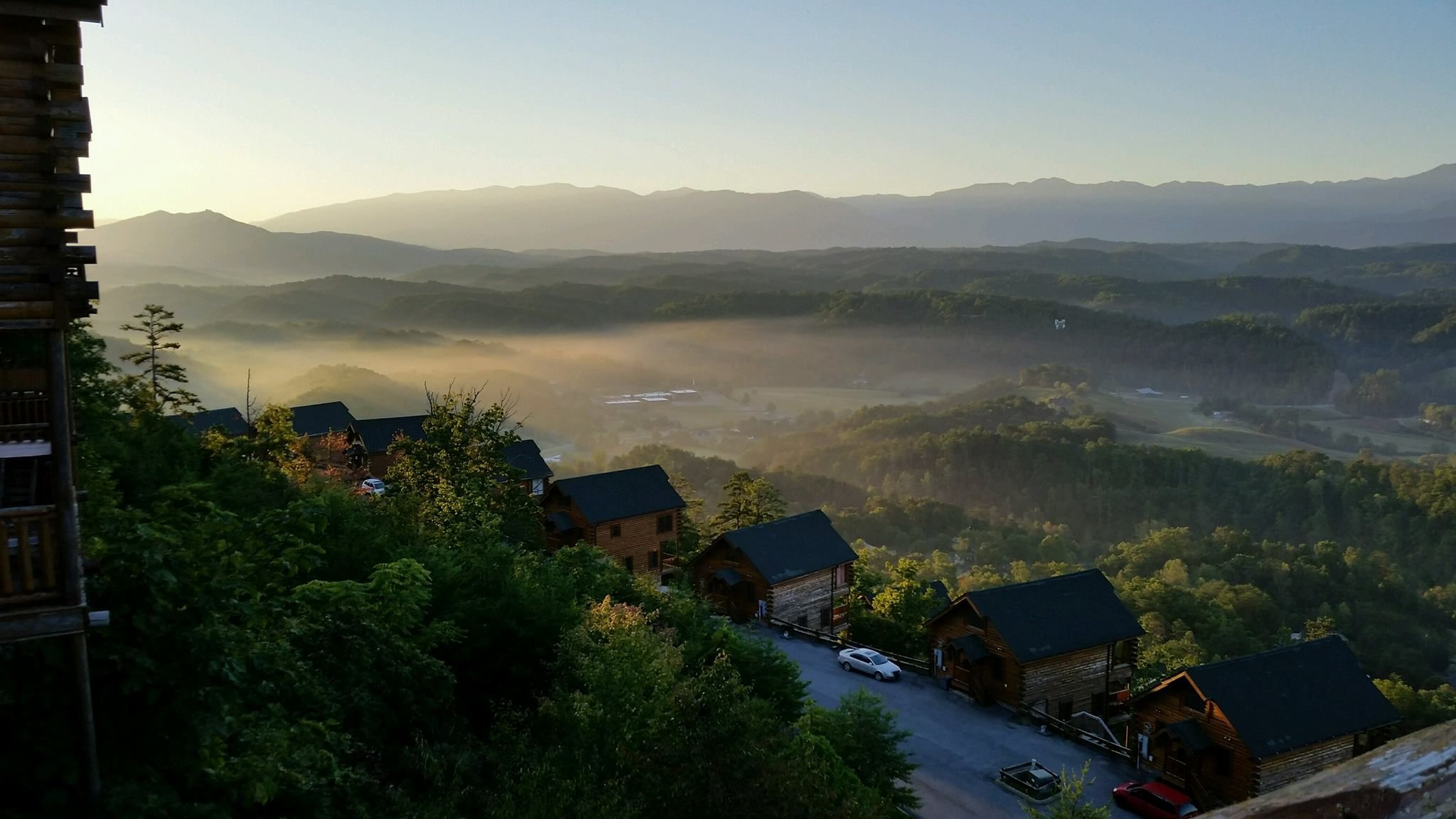 morning in the smoky mountains outside of pigeon forge, at legacy