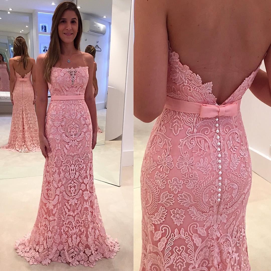 Elegant Strapless Pink Mermaid Long Pink Lace Prom Dress