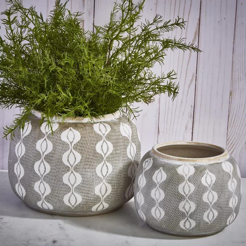 Sagebrook Home Decorative Ceramic Pot Planter Reviews Wayfair Painted Plant Pots Ceramic Decor Planters