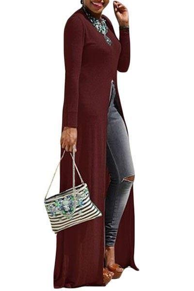 Burgundy High Front Slit Long Shirt Dress Top