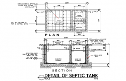 Detail of septic tank plan autocad file | Cadbull in 2019