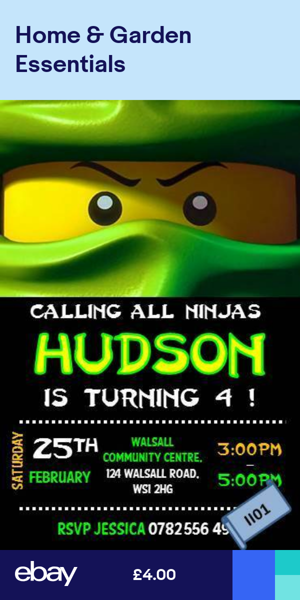 10 X Personalised Lego Ninjago Birthday Party Invitationinvites W Envelopes Ii Ninjago Birthday Ninjago Birthday Party Lego Ninjago Birthday
