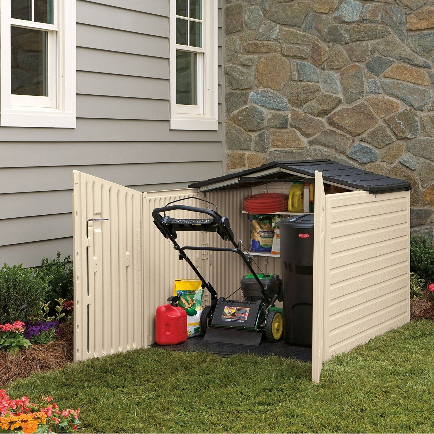 Amazon Rubbermaid Outdoor Slide Lid Storage Shed 96 cu ft