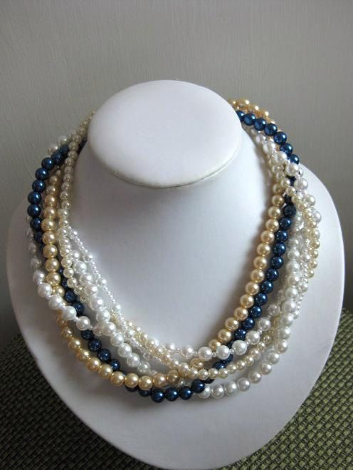 125cf0ec8 Wedding Pearl Necklace White Gold and Navy Blue by LaetitiaJewelry, $30.00