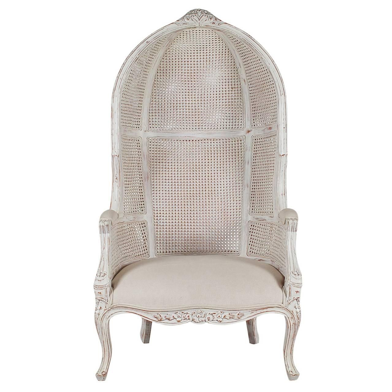 French Style Cane Wingback Canopy Porters Chair | From a unique collection  of antique and modern - French Style Cane Wingback Canopy Porters Chair Porter Chair