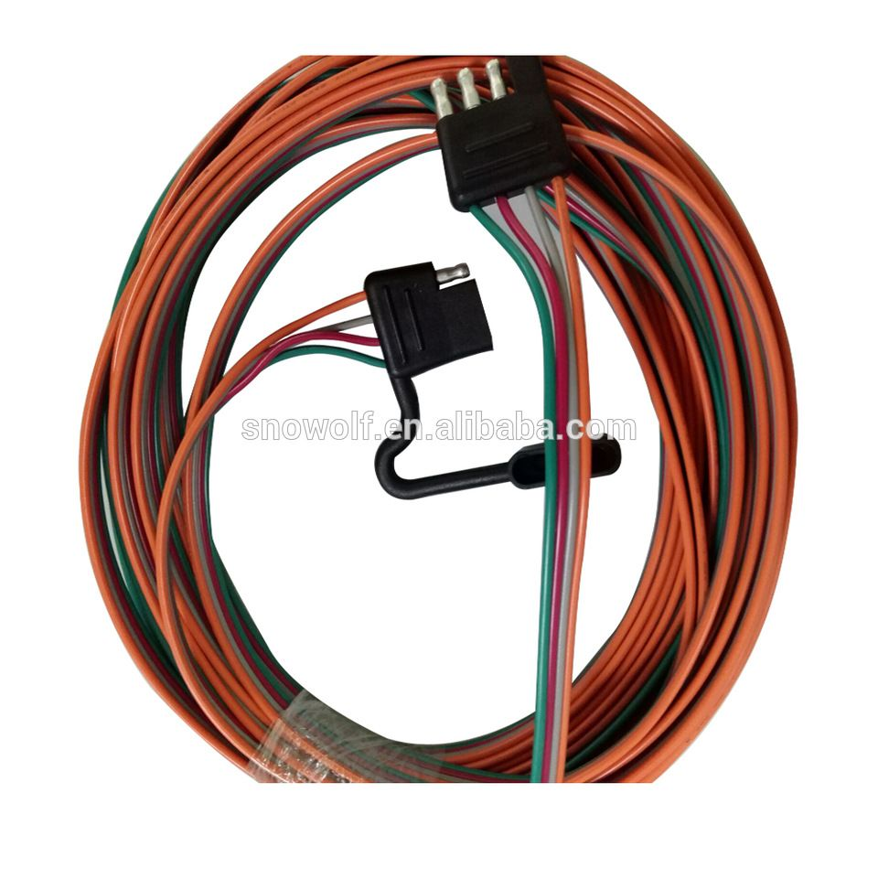 wesbar 707261 wishbone style trailer wiring harness with 4 flat connector [ 960 x 960 Pixel ]