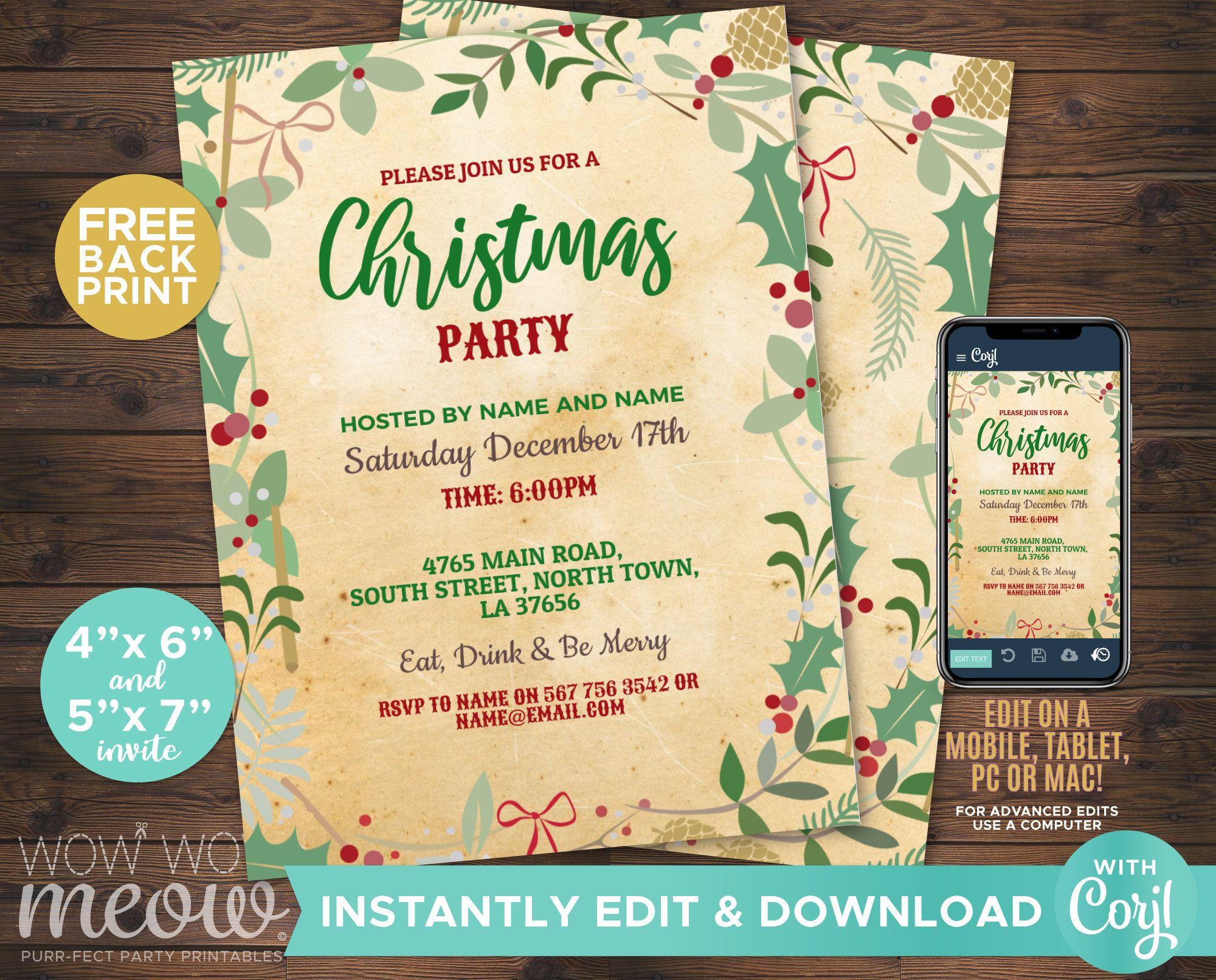 Christmas Party Invitations XMas Holiday Season Invites